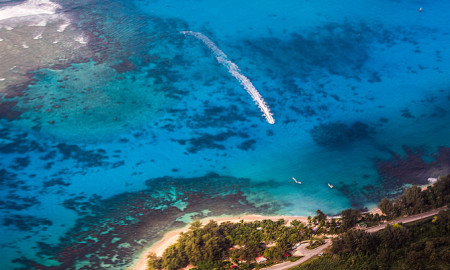 Aerial Photo Saipan Boat