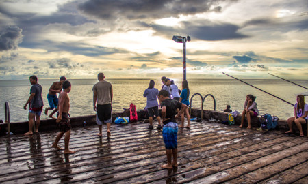 People Sunset Merizo Pier Guam