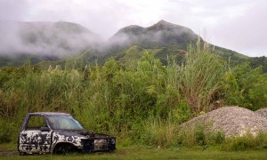 The foggy hills of southern Guam