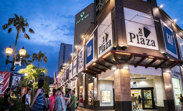 Exterior Plaza Shopping Center Night Guam
