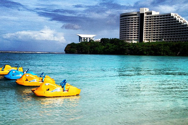 paddleboats on Tumon Bay