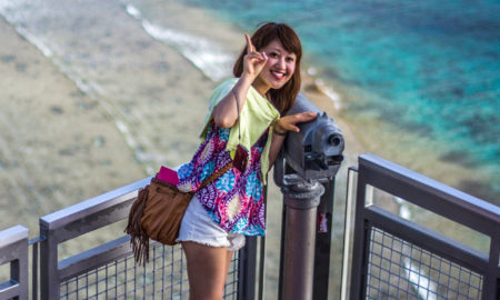 Japanese woman at Two Lovers Point, Guam