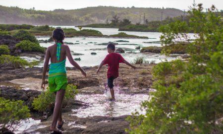 kids playing at Inarajan Pools, Guam