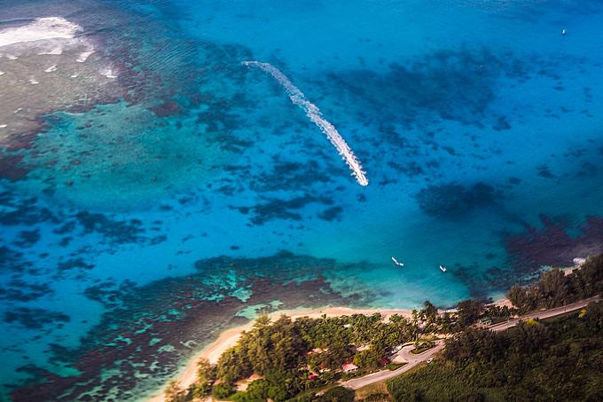 Aerial Photo Saipan Boat