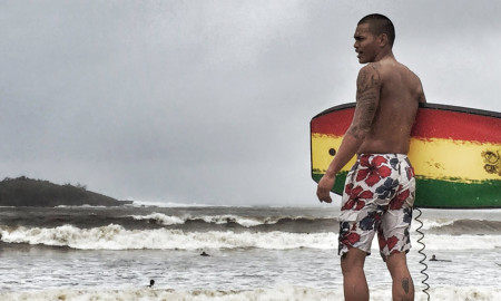 Surfer on Talofofo Bay, Guam