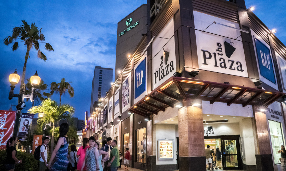 The Plaza Shopping Center Exterior Night Guam