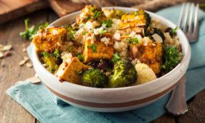 vegan tofu dish with rice